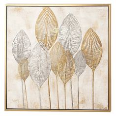 CosmoLiving by Cosmopolitan Large Square Gold and Silver Painted Leaf Canvas Wall Art Leaf Wall Art, Leaf Art, Canvas Frame, Canvas Wall Art, Canvas Prints, Diy Canvas, Painting Prints, Art Prints, Painting Abstract