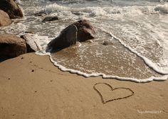 Beach Photography- Romantic Heart in the Sand. Romantic beach photo print- Remember your Summer Love with a romantic heart in the sand photo print. Created just last summer, I drew my heart in the sand in a rare bit of sand on an otherwise rocky beach. I had to work fast before the waves washed over my design. Summer Love is a great wedding or anniversary gift, perfect for a destination wedding. My romantic themed photo works well in today's natural look décor. You can create an…