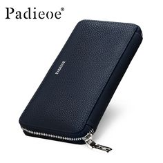 Padieoe Genuine Leather Mens Wallet Leather Zipper Long Wallets Man Business Male Purses Casual Cow Leather Small Card Wallet. Click visit to buy
