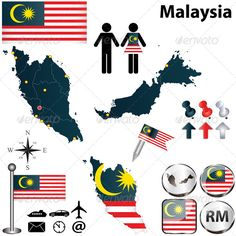 Map of Malaysia Vector of Malaysia set with detailed country shape with region borders, flags and icons. Package contains: EPS version), JPG pixels, RGB). Created: GraphicsFilesIncluded: VectorEPS Layered: No MinimumAdobeCSVersion: CS Tags: Ringgit