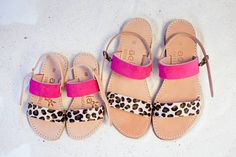 Aelia greek sandals /Mini and me sandals/ little girl leather sandals /fouchsia and leopard pony skin / yellow   leopard pony skin/ apostasy