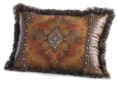 Beautiful - with sueded diamond print and alligator embossed faux leather with studded gimp...  Diamonds Tapestry Pillow