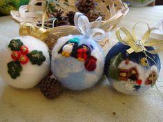 3 Filz Weihnachtskugel mit Weihnachten Bild. von ElisFeltCraft