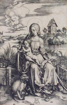 """Albrecht Dürer - """"Maria mit der Meerkatze"""", um 1498, Kupferstich."""