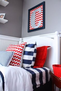 Name: Cayden and Kyle (6 and 11 months) Location: Providence, Rhode Island We started this room years ago in this theme — there's something about the classic red, white and blue that just says little boys to me, I love it! Although it's a small space, it carries a big punch with a mix of fun patterns to differentiate this room from the rest of our neutral home. Overall, I had really hoped to create a fun and cozy space for my two boys to share.