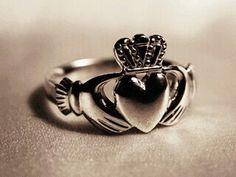 Claddagh ring <3. Crown for loyalty, hands for friendship and heart for love. An Irish traditional ring.