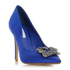 Dune Blue 'Breanna' jewelled square brooch pointed toe court shoe | Debenhams