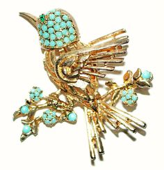 VINTAGE BLUE BIRD ON A BRANCH PIN TURQUOISE BEADED GILDED SPHINX for JOMAZ N/OS #Sphinx #Beaded