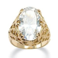 PalmBeach Jewelry 9.32 TCW Oval Cut Cubic Zirconia 14k Yellow Gold-Plated Textured Cocktail Ring Palm Beach Jewelry. $19.99