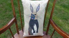 Lovely Handmade Bespoke Applique Sitting Hare Rabbit Cushion £48.00 by Marmalade Skies on Folksy