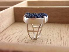Druzy Azurite Statement Ring Sterling Silver Ring US 7 Ready To Ship by GirasoleHandmade on Etsy