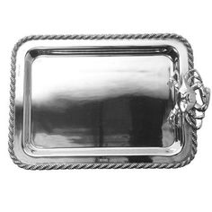 """Subtle and suave, cocktail hour treats never looked better than on this silky smooth cast 15"""" x 10""""  hand-crafted aluminum tray."""