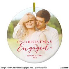 Script First Christmas Engaged Holiday Photo Ceramic Ornament zazzle Wedding Gift Ornaments, Engagement Ornaments, Christmas Tree Ornaments, Christmas Cookies, Our First Christmas Ornament, Christmas Themes, Holiday Decorations, Holiday Photos, Holiday Gifts