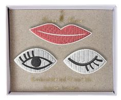 Eyes & Lips Patch Brooches Meri Meri