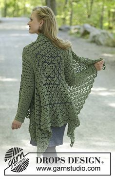 Green Envy / DROPS - free crochet patterns by DROPS design Green Envy / DROPS - crochet jacket in DROPS BabyMerino. The piece is crocheted as a square with fans, lace patte. Crochet Coat, Crochet Cardigan Pattern, Crochet Jacket, Crochet Shawl, Crochet Clothes, Crochet Patterns Free Women, Lace Patterns, Knitting Patterns Free, Free Pattern