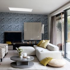 Opt for graphic wallpaper | Family living room design ideas | PHOTO GALLERY | Housetohome.co.uk