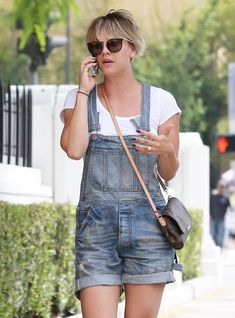 Kaley Cuoco Street Style - in Overall Shorts During Lunch Date - June 2014