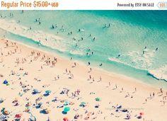 25 % de RABAIS - photographie plage, plage aérienne imprimer, décor de la grande plage, les gens parasols plage fine art impression, photo mer, décoration murale, décor à la maison