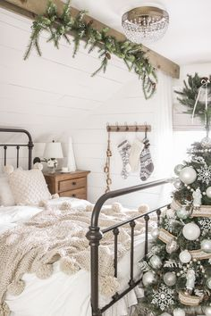 2019 Christmas Bedroom - Step inside this beautiful farmhouse bedroom decorated . Christmas Bedroom, Cozy Christmas, Beautiful Christmas, Christmas 2019, White Christmas, Winter Bedroom Decor, Christmas Ornament, Farmhouse Bedroom Decor, Farmhouse Christmas Decor