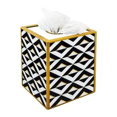 Bath accessories Black and White triangles with gold lines | Etsy