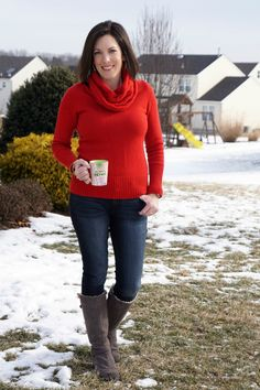 fashion over 40: 28 days of winter outfits day 6 - bold red sweater with cable cowl neck, @dl1961 skinnies & uggs