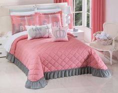 COLCHAS CONCORD  FACEBOOK: @ColchasConcordOficial  TWITTER: @OficialConcord  INSTAGRAM: @colchasconcordoficialmx Colchas Concord, Ruffle Bedding, My Room, Comforters, Curtains, Blanket, Room Ideas, Facebook, Decoration