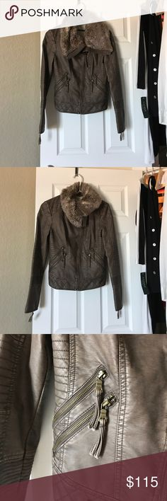 NWOT Guess Leather Jacket with Fur NWOT Guess Leather Jacket with Fur! Perfect condition and can be dressed up or worn causal. Very cute and stylish! Can fit a small as well! Size XS Guess Jackets & Coats