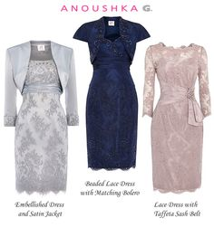 Anoushka 2015 collection of Mother of the Bride/Groom outfits, bridesmaid and beaded evening gowns in silver, navy and pink