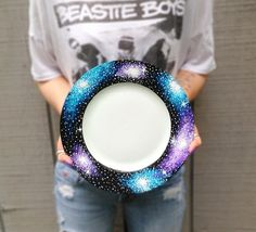 Hand painted galaxy plates set of 2 by ArianaVictoriaRose on Etsy