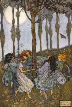 An poster sized print, approx (other products available) - Fairies dancing in a circle beneath the trees - Image supplied by Mary Evans Prints Online - Poster printed in the USA Pretty Art, Cute Art, Arte Inspo, Fairytale Art, Fairy Art, Psychedelic Art, Aesthetic Art, Faeries, Collage Art