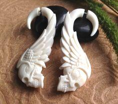 """Fake Gauge Earrings, """"Tribal Skull"""" Naturally Organic, Bone, Hand Carved. $28.00, via Etsy."""