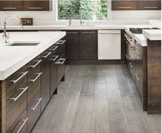 Light Grey Wood Floors, Grey Flooring, Hardwood Floors, Dark Brown Cabinets, Dark Kitchen Cabinets, Dark Wood Kitchens, Brown Kitchens, Grey Kitchen Floor, Kitchen Flooring