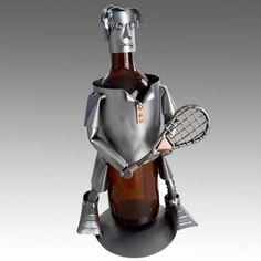 Whimsical Male Tennis Player Metal Wine Bottle Holder