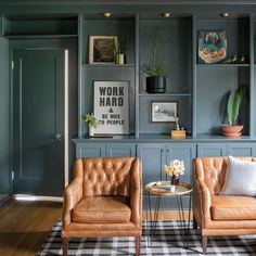 Home Office Design, Home Office Decor, Home Office Paint Ideas, Home Office Shelves, Room Ideas Bedroom, Bedroom Decor, Home Interior, Interior Design, Interior Office