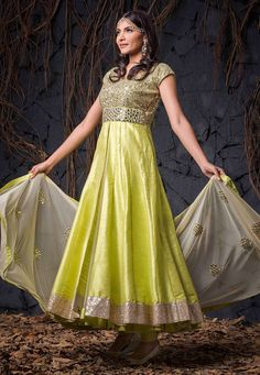 Buy Neon Green and Beige Art Silk and Net Readymade Anarkali Churidar Kameez online, work: Embroidered, color: Beige / Fluorescent Green, usage: Wedding, category: Salwar Kameez, fabric: Art Silk, price: $531.20, item code: KBW4, gender: women, brand: Utsav