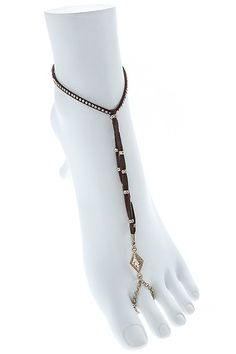 KARMAS CANVAS STUDDED FAUX LEATHER TOE ANKLET *** Special  product just for you. See it now! : Anklets Jewelry
