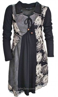Pretty Angel Clothing Sally Tunic Dress In Gray & Black LadiesVintageDresses at Styles2you.com
