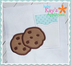Milk and Cookies Applique - Here is a yummy set of Milk and Cookies. This would be great at Christmas time or all year round.