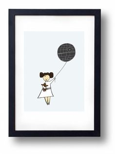 Princess Leia as a little girl with a Chewbacca doll and a death star ballooon....the perfect print for a Star Wars fan little girl room or nursery.