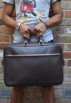 Mens Vintage Brown Leather Style Bag