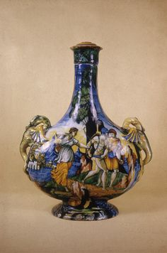 Flask with scenes of the caledonian boar hunt Italy 1540[1191x1800]