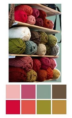 a palette of skeins of yarn