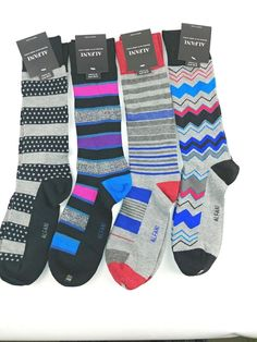 62a89ae3c3bd Lot 2 ALFANI Mens Print Striped Seamless Toe Knit Crew Socks 10-13 #Alfani # Dress