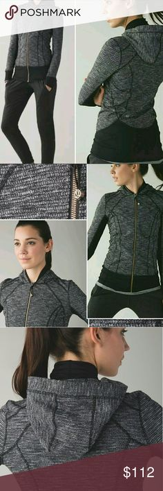 Lululemon Coco Pique Daily Practice Hoodie 2/&4 RARE,EUC,no sign of wear&tear.SUPER cozy,super warm knit textured luon. Gold Zipper.Flattering,fitted.True to size 2 but if you're a 4&prefer a very snug /bodycon fit, imo it fits fine.I'm a 4&when I tried it on it was a tight fit but not restrictive,uncomfortable or awkward looking. It's also quite long. I'm 5'5 & it almost covers my whole butt.Cool&unique design Keywords:full zip up track Yoga sweatshirt,jacket coat sweater,tweed,asana…