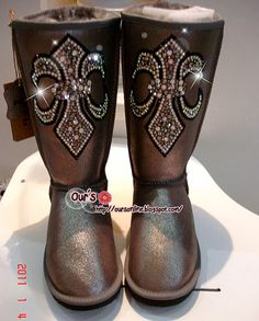 Czech Crystal Bling Bling Wool Boots With Cross From BlingCrystalShop