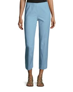 TBUE0 Lafayette 148 New York Bleecker Stretch-Cotton Cropped Pants, Portofino