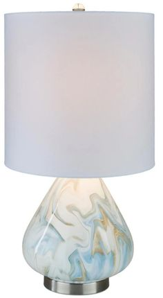 This beautiful Orleans table lamp has a marbled ceramic body, brushed nickel base, and crystal finial. It colors have a fluid pattern that will work in a variety of design styles. Visit ti see how it fits into our design. Also get great design tips. Beach Color Schemes, Beach Room, Walnut Table, Family Room Design, Design Styles, Cozy House, Brushed Nickel, Free Design, Living Room Designs