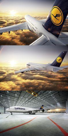 Airbus, a380, lufthansa, airliner, passenger, aircraft, flight, sky, clouds, height, horizon