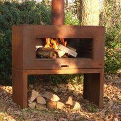 Corten Steel Outdoor Standing Fireplace With Wood Store by Adezz - Outdoor Wood Burner, Outdoor Fire Table, Outdoor Oven, Fire Pit Table, Indoor Outdoor, Standing Fireplace, Wood Fireplace, Fireplaces, Fireplace Ideas