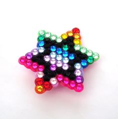 Rainbow 'Starstruck' Brooch Multicoloured Star Pin Badge - Sparkly Bling Kitsch Geek Chic - ROYGBIV or Your Custom Crystal & Pearl Colours by VelvetVolcano on Etsy https://www.etsy.com/listing/158851419/rainbow-starstruck-brooch-multicoloured